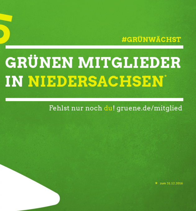 Die Grünen in Niedersachsen verzeichnen 2017 den höchsten Mitgliederstand aller Zeiten: Mitgliederrekord!