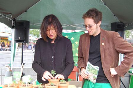 Aktion mit Rebecca Harms und Jan Philipp Albrecht