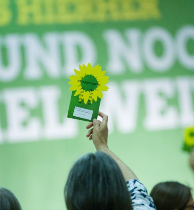 Ein Mitglied hält seine Delegiertenkarte hoch auf einer Landesdelegiertenkonferenz 2017.