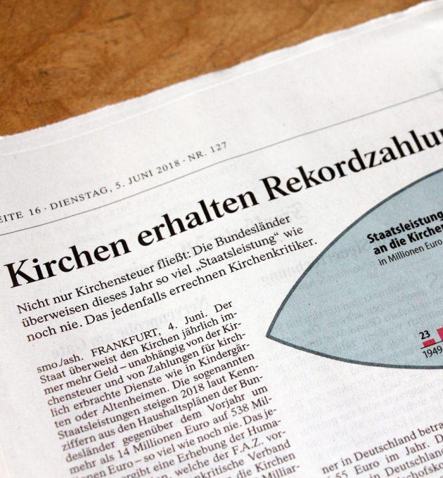 Die Bundesländer überweisen 2018 so viel Staatsleistungen wie noch nie, berichtet die Frankfurter Allgemeine Zeitung.