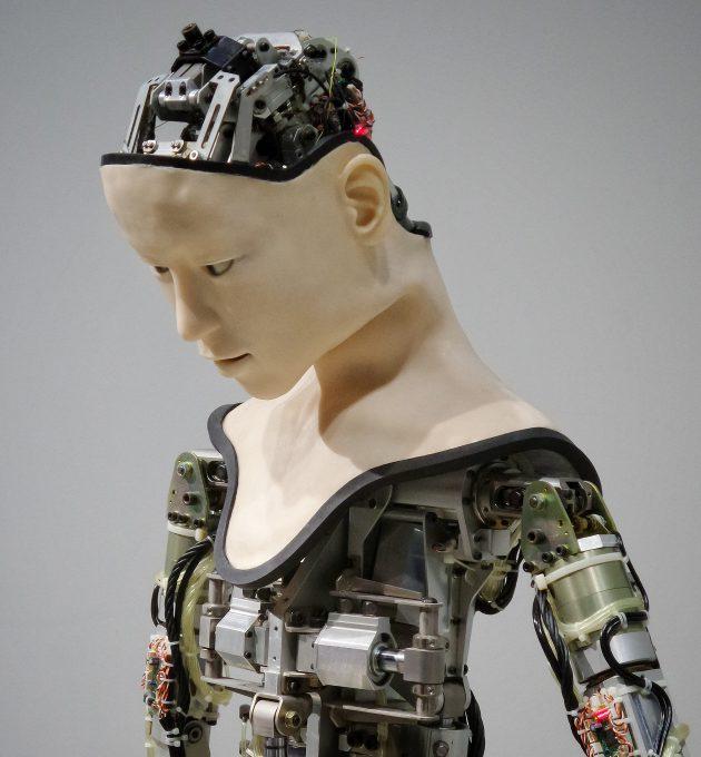 Roboter mit Gesicht einer Frau. Digitalisierung: Mehr Mensch als Maschine. Welche Rolle könnten Roboter in Zukunft spielen?